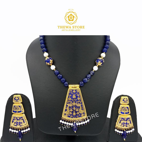 Thewa art jewellery Glass ghat Necklace set with 3 Step earrings - ThewaStore