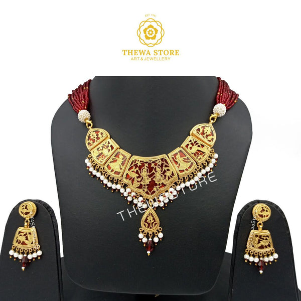 Thewa Jewellery Full Neck Cover Radhe Krishna Necklace Necklace Thewa Store1