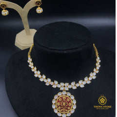 Thewa Jewellery Kundan Round Necklace Necklace Thewa Store1