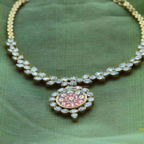Thewa Jewellery Kundan Round Necklace - ThewaStore
