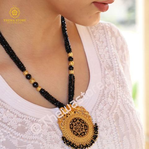 Thewa Jewellery Round Amogh Designer Necklace Necklace Thewa Store1