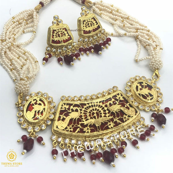 Thewa Jewellery set with Gold Dancing Peacock with AD - ThewaStore