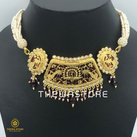 Thewa Jewellery set with Gold Dancing Peacock with AD Necklace Thewa Store1