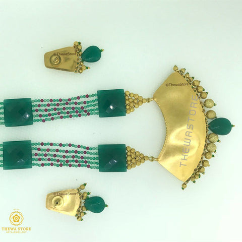 Thewa Jewellery Designer Green Half moon Shape Necklace with Jade Necklace Thewa Store1