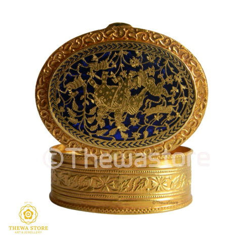 Original Thewa Art Jewellery Handmade Oval Hunting Sindoor Box - ThewaStore