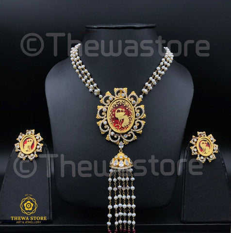 Thewa Jewellery Oval Amogh Designer Necklace Necklace Thewa Store1