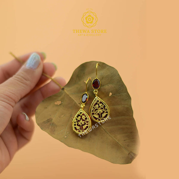 Thewa Jewellery  Drop Shape Earrings with Real Stones - ThewaStore