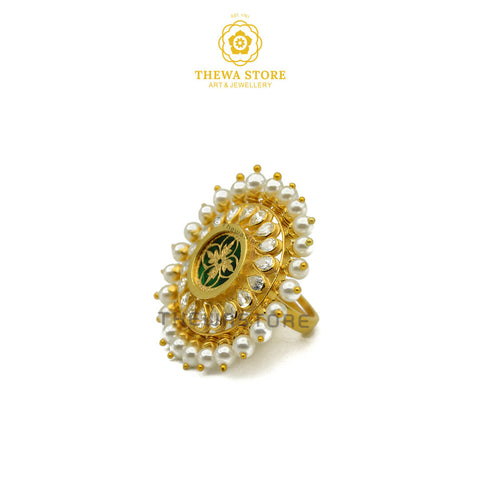 Designer Pearl Thewa Art Ring - ThewaStore