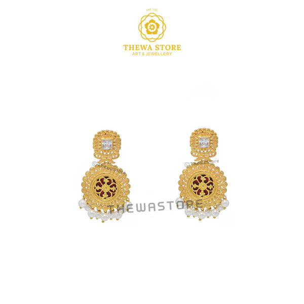 Sparsh Designer Thewa Round Necklace