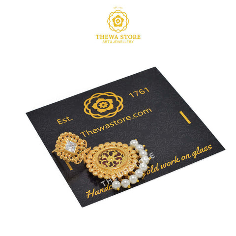Sparsh Designer Thewa Round Necklace 1