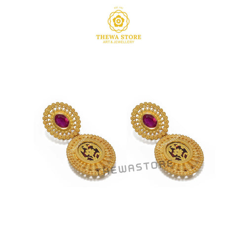 Sparsh Thewa Jewellery Oval Latkan Earrings - ThewaStore