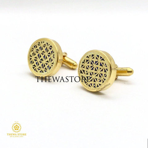 Original Thewa Jewellery Designer Checks Round  Cufflinks for Suit - ThewaStore