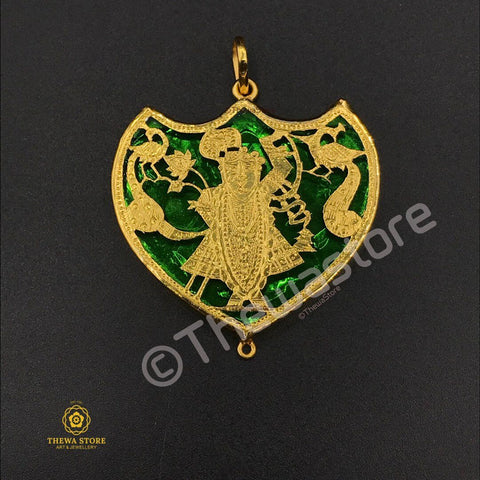 Thewa Jewellery Shrinath Ji Pendant (Crown Shape) ThewaStore