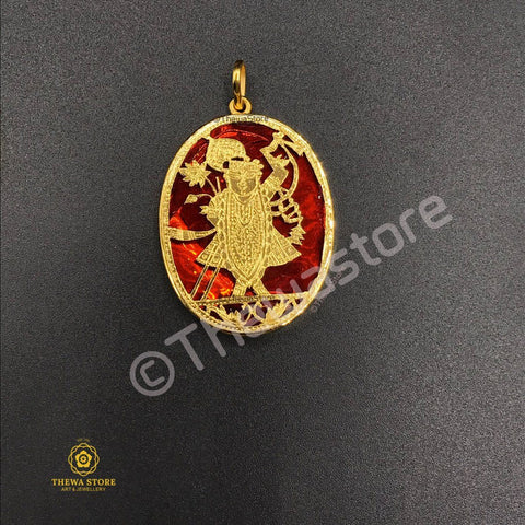 Original Thewa Jewellery Shrinath Ji Pendant (Oval Shape) Pendent Thewa Store1