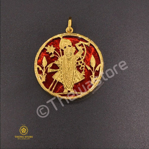 Original Thewa Jewellery Shrinath Ji Pendant (Round Shape) - ThewaStore
