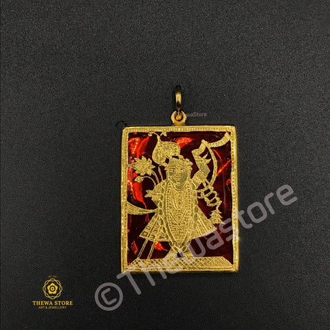 Original Thewa Jewellery Shrinath Ji Pendant (Rectangle Shape) Pendent Thewa Store1
