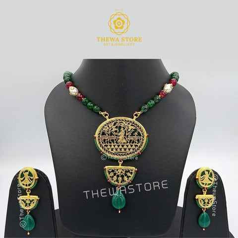 Thewa art jewellery Round 2 Step Necklace Set with latkan earrings - ThewaStore