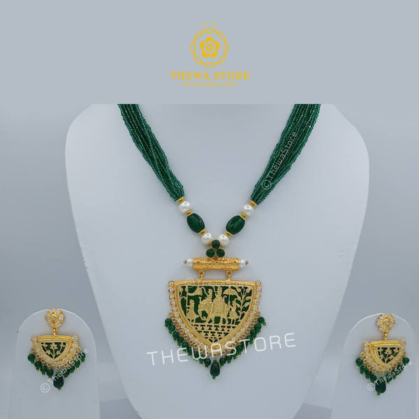 Thewa art jewellery Shahi savari Neckalce set - ThewaStore