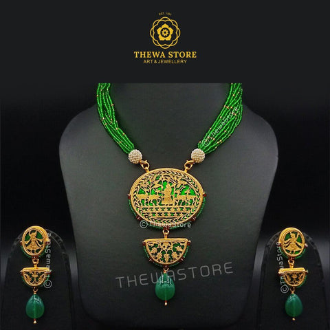 Thewa art jewellery Round 2 Step Necklace Set with latkan earrings Necklace ThewaStore