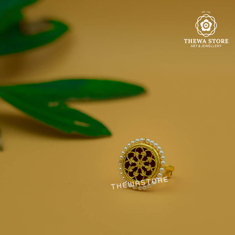 Thewa Art Round Ring with Pearl - ThewaStore