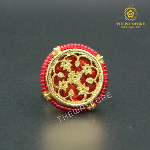 Thewa Art Round Ring with Red beads Ring Thewa Store1