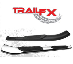 TrailFX 4 Inch Oval Bent Side Step Nerf Bars Polished Stainless Steel/Black Powder Coated