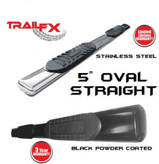 TrailFX 5 Inch Oval Straight Side Step Nerf Bars