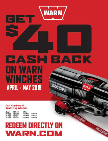 WARN POWERSPORTS WINCH REBATE SPRING 2019