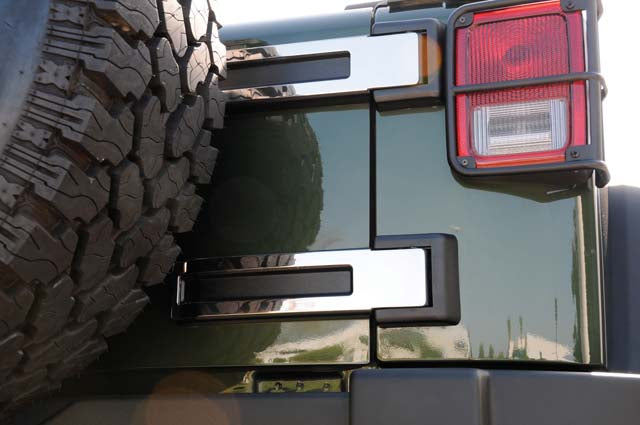 T-REX Grilles-10485-Wrangler Spare Tire Carrier Hinge 07-15 Jeep Wrangler Stainless Polished 2 Piece T1 Series T-REX Grilles-AutoAccessoriesGuru.com