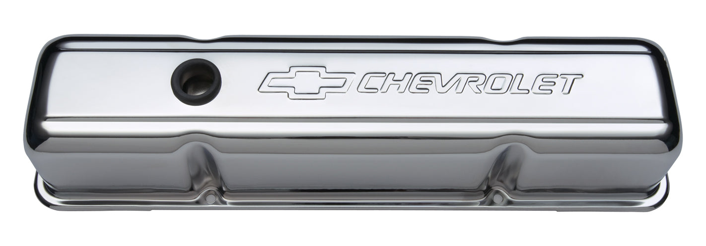 Chevrolet Performance Parts-141-103-Engine Valve Covers Stamped Steel Tall Chrome With Baffle Bowtie Logo Fits SB Chevy Embossed Chevrolet & Bowtie Logos Chevrolet Performance Parts-AutoAccessoriesGuru.com
