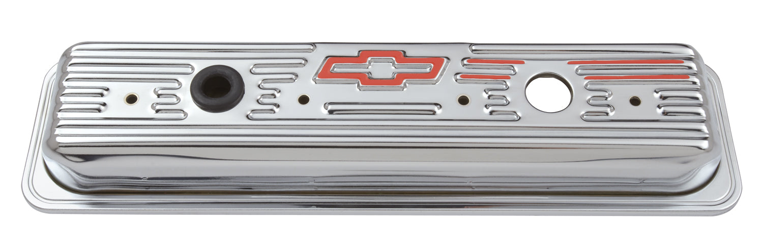 Chevrolet Performance Parts-141-107-Engine Valve Covers Center Bolt Style Steel Chrome Short With Baffle Bowtie Logo SB Chevy Embossed Red Bowtie Logo Chevrolet Performance Parts-AutoAccessoriesGuru.com