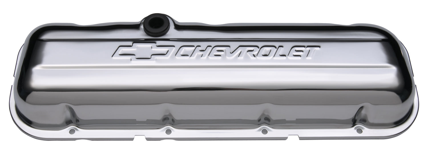 Chevrolet Performance Parts-141-114-Engine Valve Covers Stamped Steel Short Chrome w/ Bowtie Logo Fits BB Chevy Embossed Chevrolet & Bowtie Logos Chevrolet Performance Parts-AutoAccessoriesGuru.com