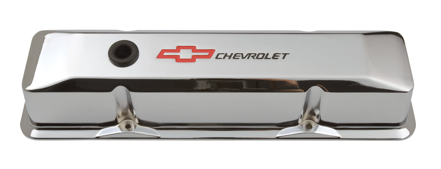 Chevrolet Performance Parts-141-117-Engine Valve Covers Tall Style Die Cast Chrome with Bowtie Logo For SB Chevy Recessed Black Chevrolet & Red Bowtie Logos Chevrolet Performance Parts-AutoAccessoriesGuru.com