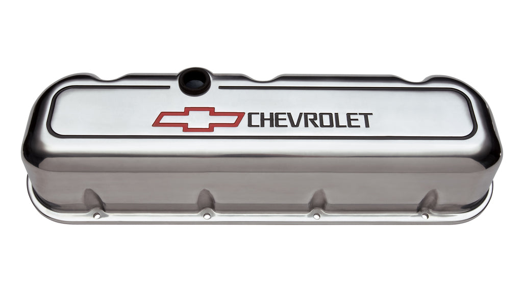Chevrolet Performance Parts-141-142-Engine Valve Covers Tall Style Die Cast Polished with Bowtie Logo BB Chevy Recessed Black Chevrolet & Red Bowtie Logos Chevrolet Performance Parts-AutoAccessoriesGuru.com