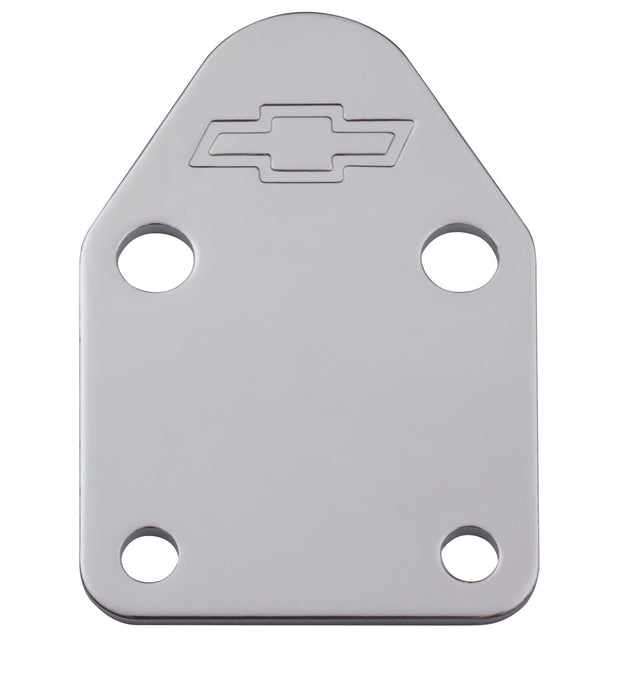 Chevrolet Performance Parts-141-210-Fuel Pump Block-Off Plate Chrome with Bowtie Logo Fits SB Chevy V8 Engines Chevrolet Performance Parts-AutoAccessoriesGuru.com