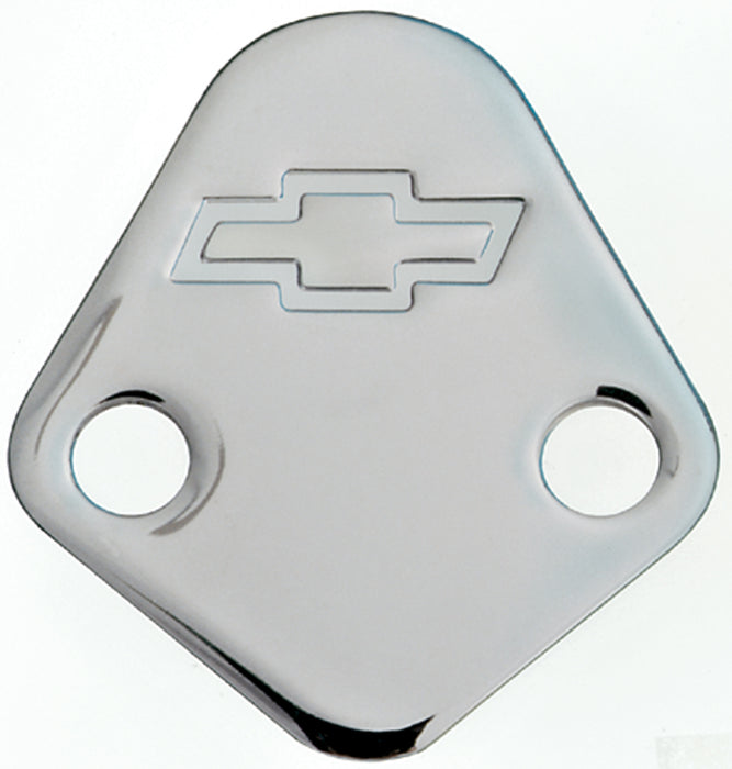 Chevrolet Performance Parts-141-211-Fuel Pump Block-Off Plate Chrome with Bowtie Logo Fits BB Chevy V8 Engines Chevrolet Performance Parts-AutoAccessoriesGuru.com