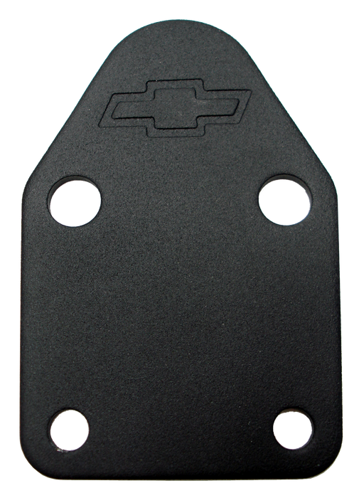 Chevrolet Performance Parts-141-212-Fuel Pump Block-Off Plate Black Crinkle with Bowtie Fits SB Chevy V8 Engines Chevrolet Performance Parts-AutoAccessoriesGuru.com