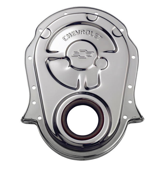 Chevrolet Performance Parts-141-216-Engine Timing Chain Cover Chrome Steel w/ Chevy and Bowtie Logo For BB Chevy Chevrolet Performance Parts-AutoAccessoriesGuru.com