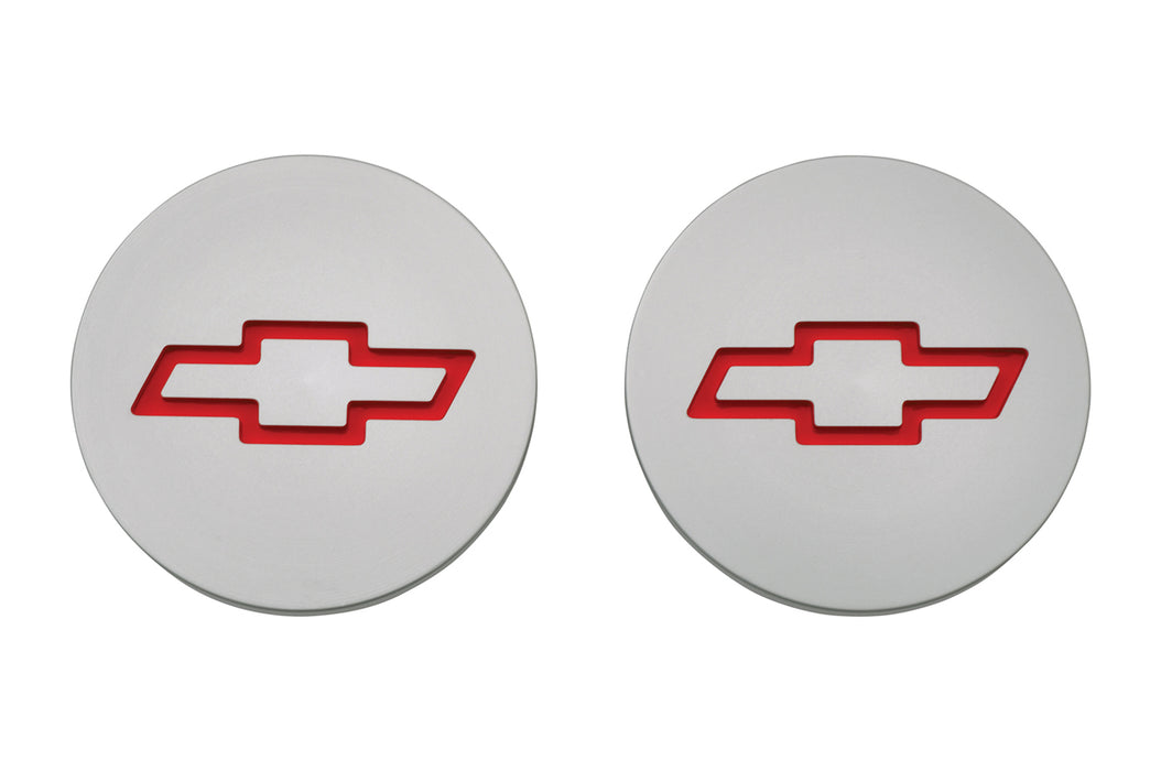 Chevrolet Performance Parts-141-233-Freeze Plug Inserts Silver w/Recessed Bowtie Emblem For SB Chevy Engine Pair Chevrolet Performance Parts-AutoAccessoriesGuru.com