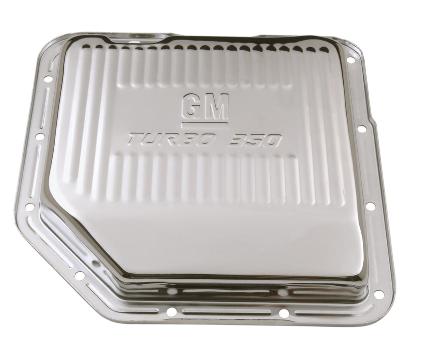 Chevrolet Performance Parts-141-250-Transmission Oil Pan GM Logo Chrome GM Turbo 350 Trans Drain Plug Included Chevrolet Performance Parts-AutoAccessoriesGuru.com