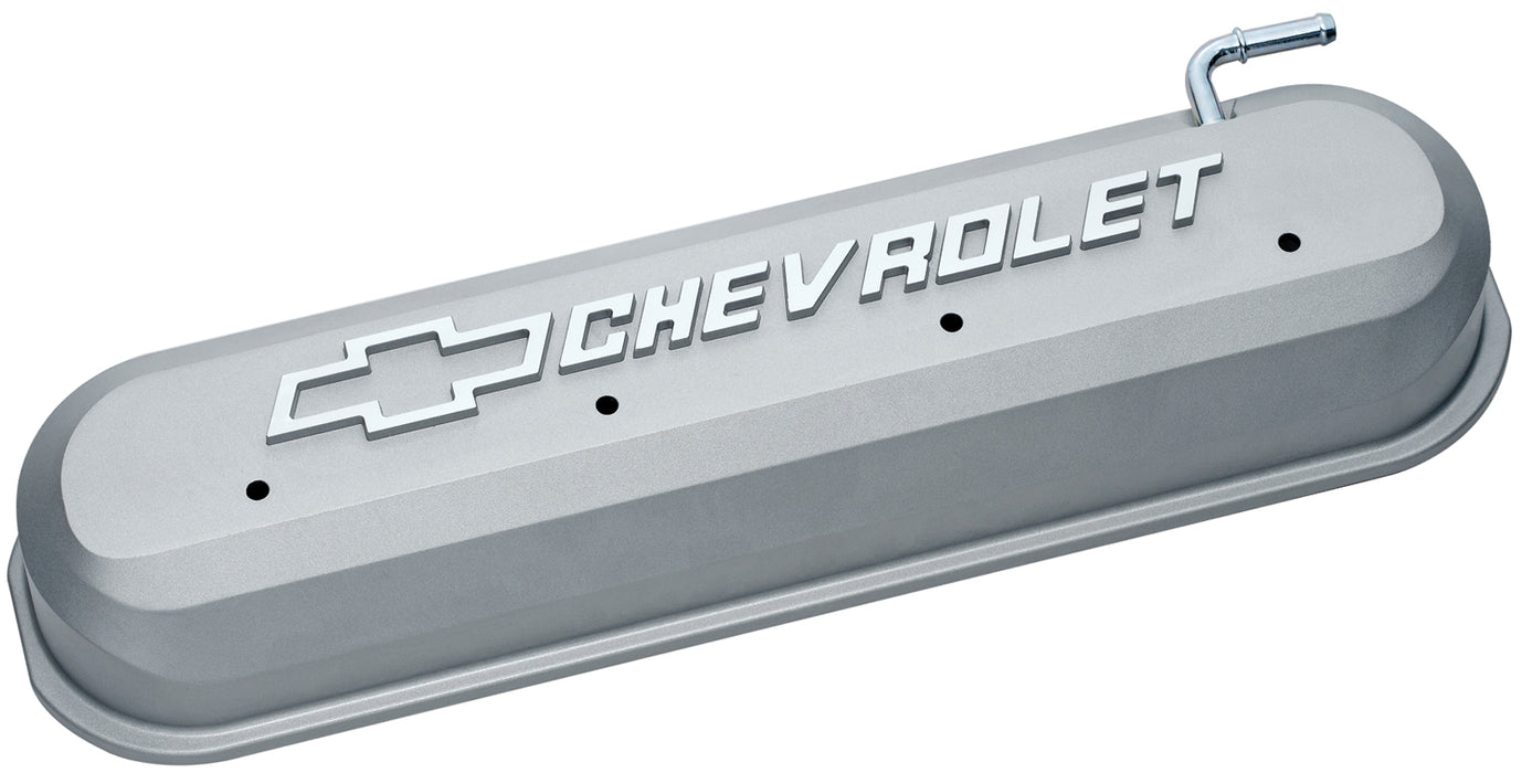 Chevrolet Performance Parts-141-263-Engine Valve Covers Tall Style Die Cast Gray with Bowtie Logo LS Engines Raised & Milled Chevrolet & Bowtie Logos Chevrolet Performance Parts-AutoAccessoriesGuru.com