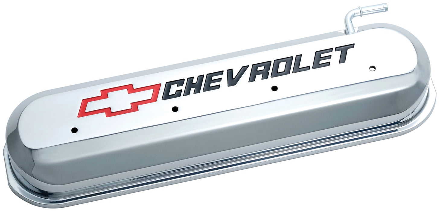 Chevrolet Performance Parts-141-265-Engine Valve Covers Tall Style Die Cast Chrome with Bowtie Logo LS Engines Recessed Black Chevrolet & Red Bowtie Logos Chevrolet Performance Parts-AutoAccessoriesGuru.com