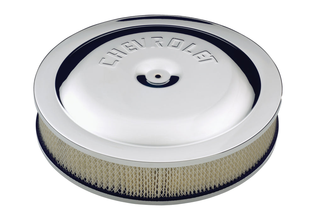 Chevrolet Performance Parts-141-307-Air Cleaner Kit Chrome Embossed Chevy Logo 14 Inch Diameter W/Center Nut Chevrolet Performance Parts-AutoAccessoriesGuru.com