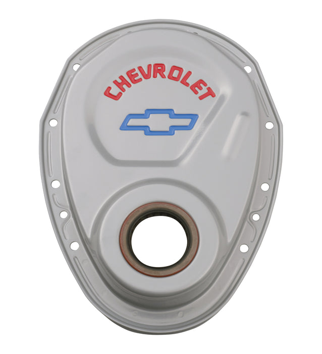 Chevrolet Performance Parts-141-363-Timing Chain Cover Gray Steel With Chevy and Bowtie Logo For SB Chevy 69-91 Chevrolet Performance Parts-AutoAccessoriesGuru.com
