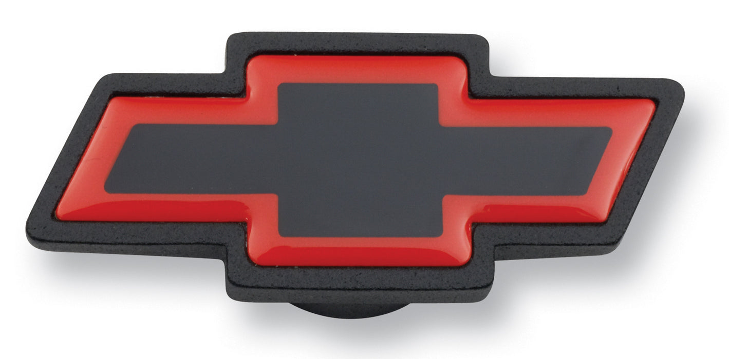 Chevrolet Performance Parts-141-369-Air Cleaner Center Nut Bowtie Large Large Chevy Bowtie Black Crinkle/Red Chevrolet Performance Parts-AutoAccessoriesGuru.com