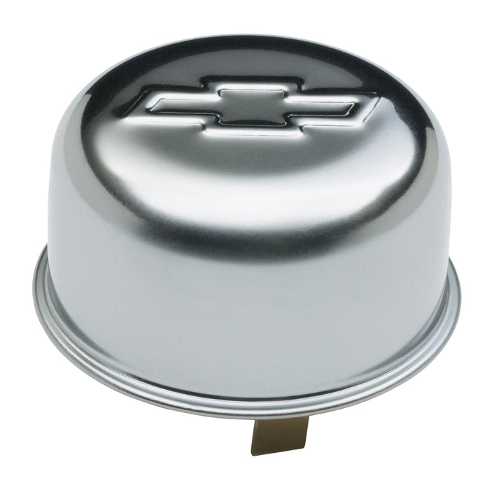 Chevrolet Performance Parts-141-617-Engine Oil Breather Cap Push-On Style 1.82 Hole Embossed Bowtie Logo Chrome Chevrolet Performance Parts-AutoAccessoriesGuru.com