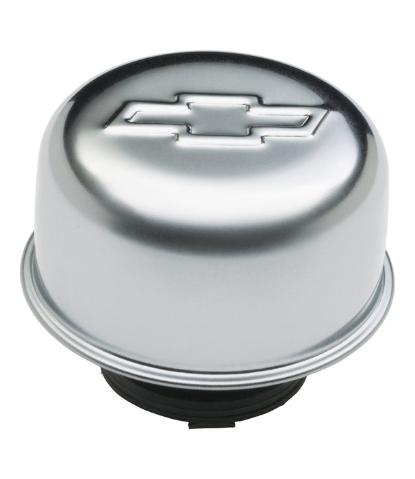 Chevrolet Performance Parts-141-618-Valve Cover Breather Cap Chrome Twist-On Type 3 Inch Diameter With Bowtie Logo Chevrolet Performance Parts-AutoAccessoriesGuru.com