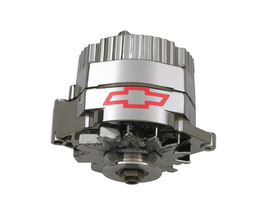 Chevrolet Performance Parts-141-657-Alternator 100 AMP GM 1 Wire Style GM Bowtie Logo Chrome Finish Chevrolet Performance Parts-AutoAccessoriesGuru.com
