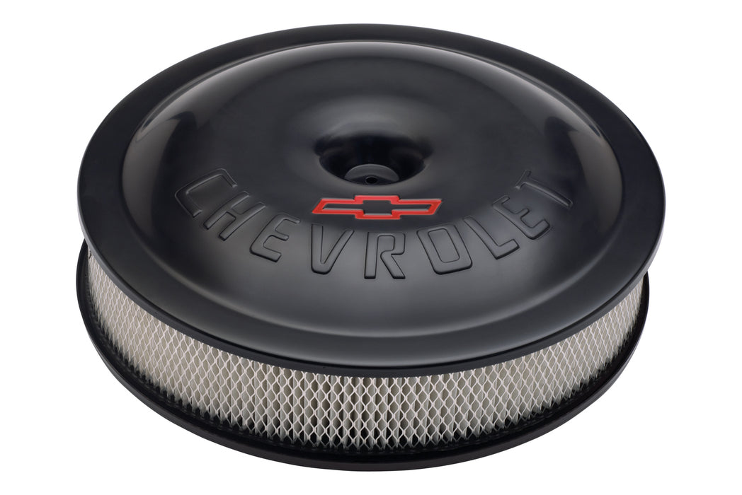 Chevrolet Performance Parts-141-692-Engine Air Cleaner Kit Super-Light 14 Inch Alunimum Black Bowtie/Chevy Logo Chevrolet Performance Parts-AutoAccessoriesGuru.com
