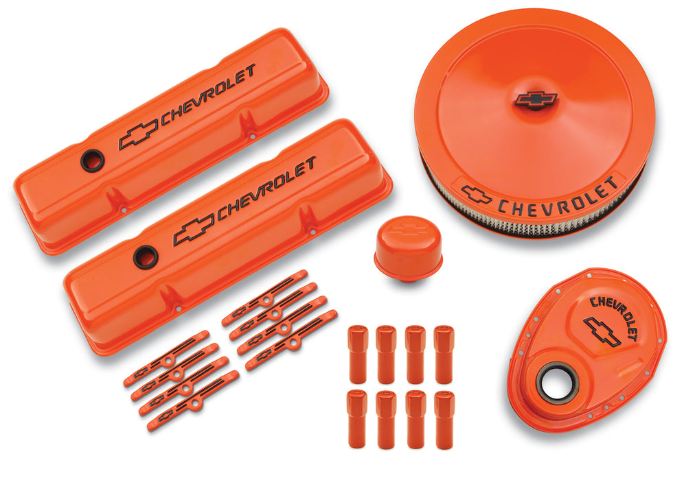 Chevrolet Performance Parts-141-780-Engine Dress-Up Kit Orange w/Black Bowtie Logo Fits SB Block Chevy Engines Tall Powdercoat Chevrolet Performance Parts-AutoAccessoriesGuru.com